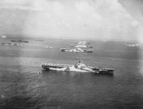 Aircraft carriers at anchor